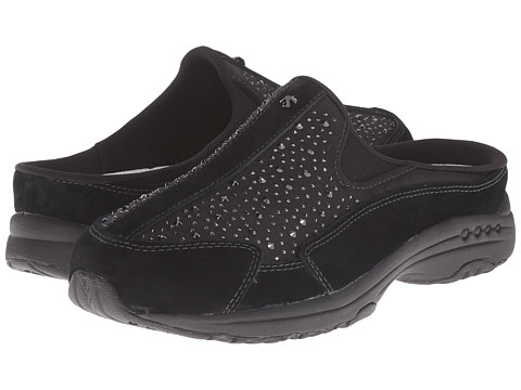 Easy Spirit - Traveltime (Black/Medgold Suede) Women's Clog Shoes