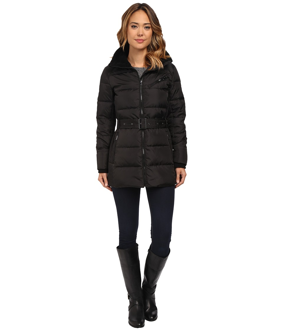 LAUREN Ralph Lauren - Belted Berber Trim (Black) Women's Coat