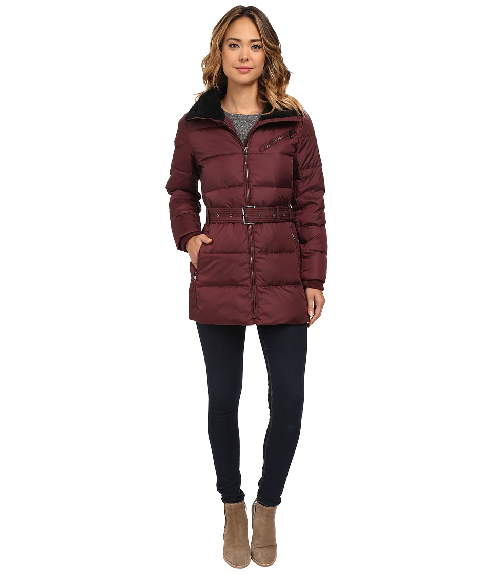 LAUREN Ralph Lauren - Belted Berber Trim (Wine) Women's Coat