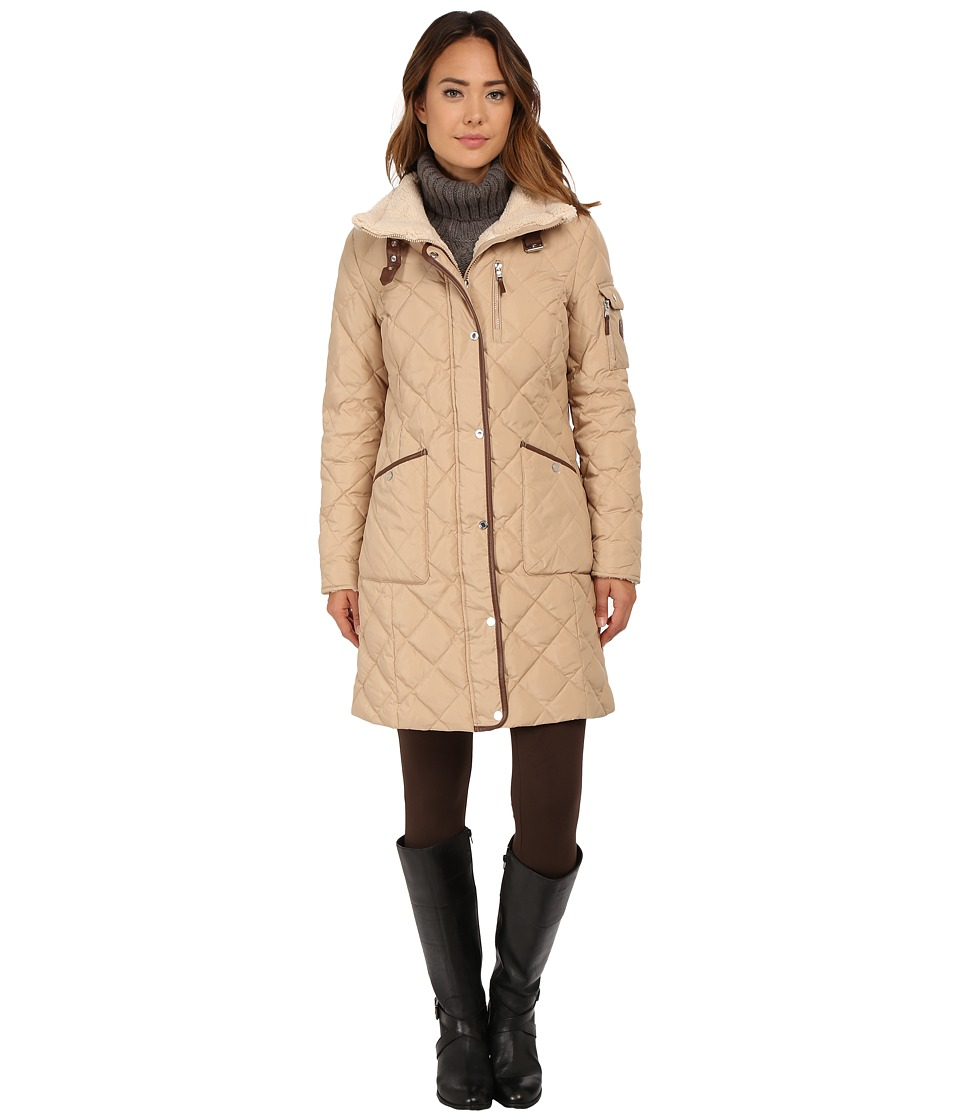LAUREN Ralph Lauren - Berber Trim Funnel Neck (Racing Khaki) Women's Coat