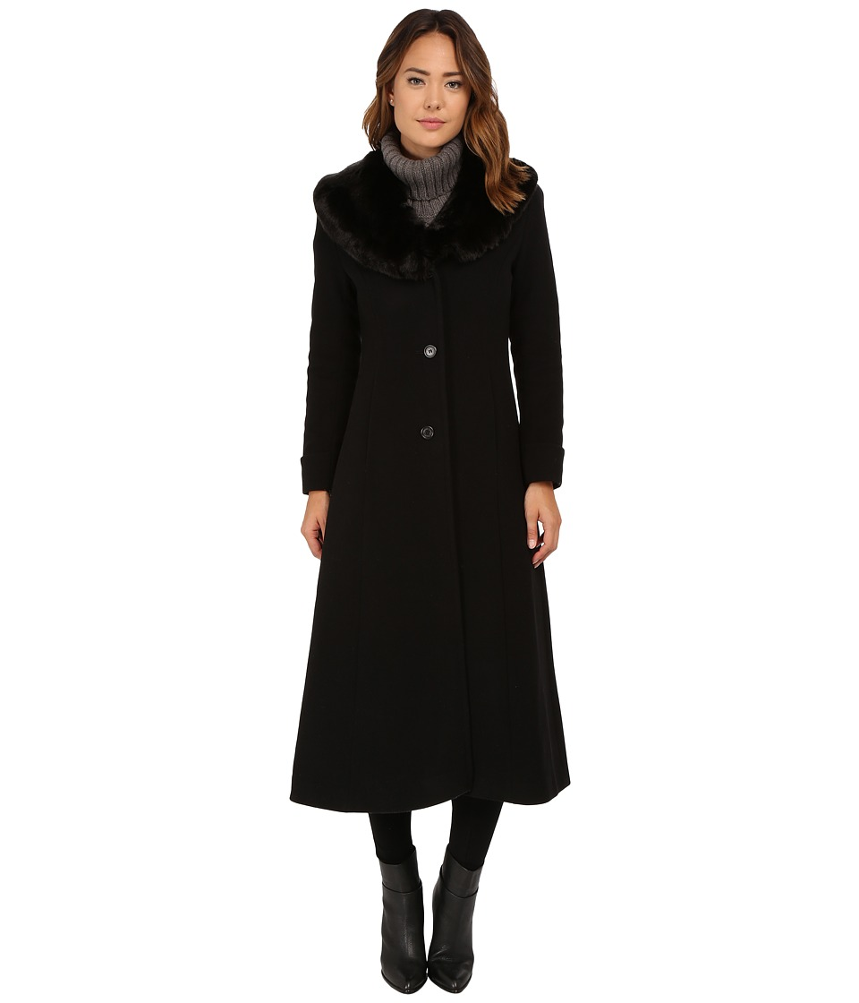 LAUREN Ralph Lauren - Cashmere Blend Faux Fur Fit Flare Maxi (Black) Women's Coat