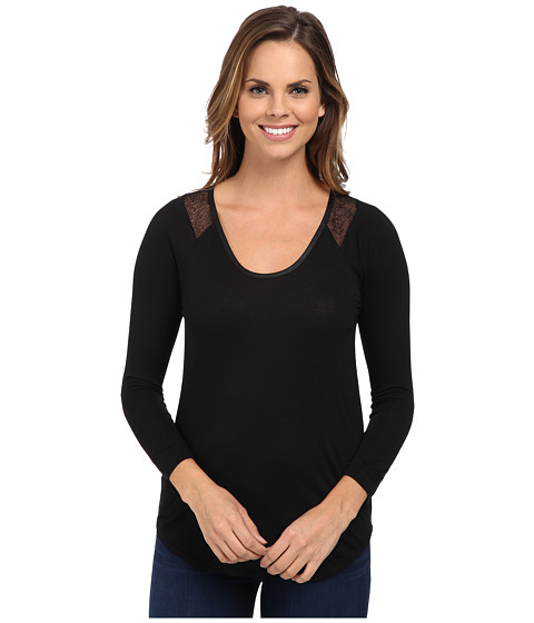Calvin Klein Jeans - Lace Raglan Sleeve Top (Black) Women's Clothing
