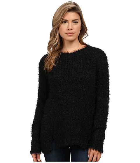 Calvin Klein Jeans - Long Sleeve Eyelash Crew Neck (Black) Women
