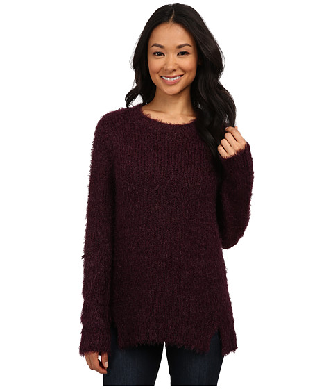 Calvin Klein Jeans - Long Sleeve Eyelash Crew Neck (Elderberry) Women's Sweater