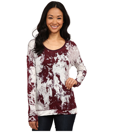 Calvin Klein Jeans - Long Sleeve U-Neck Printed Top (Elderberry) Women's Long Sleeve Pullover