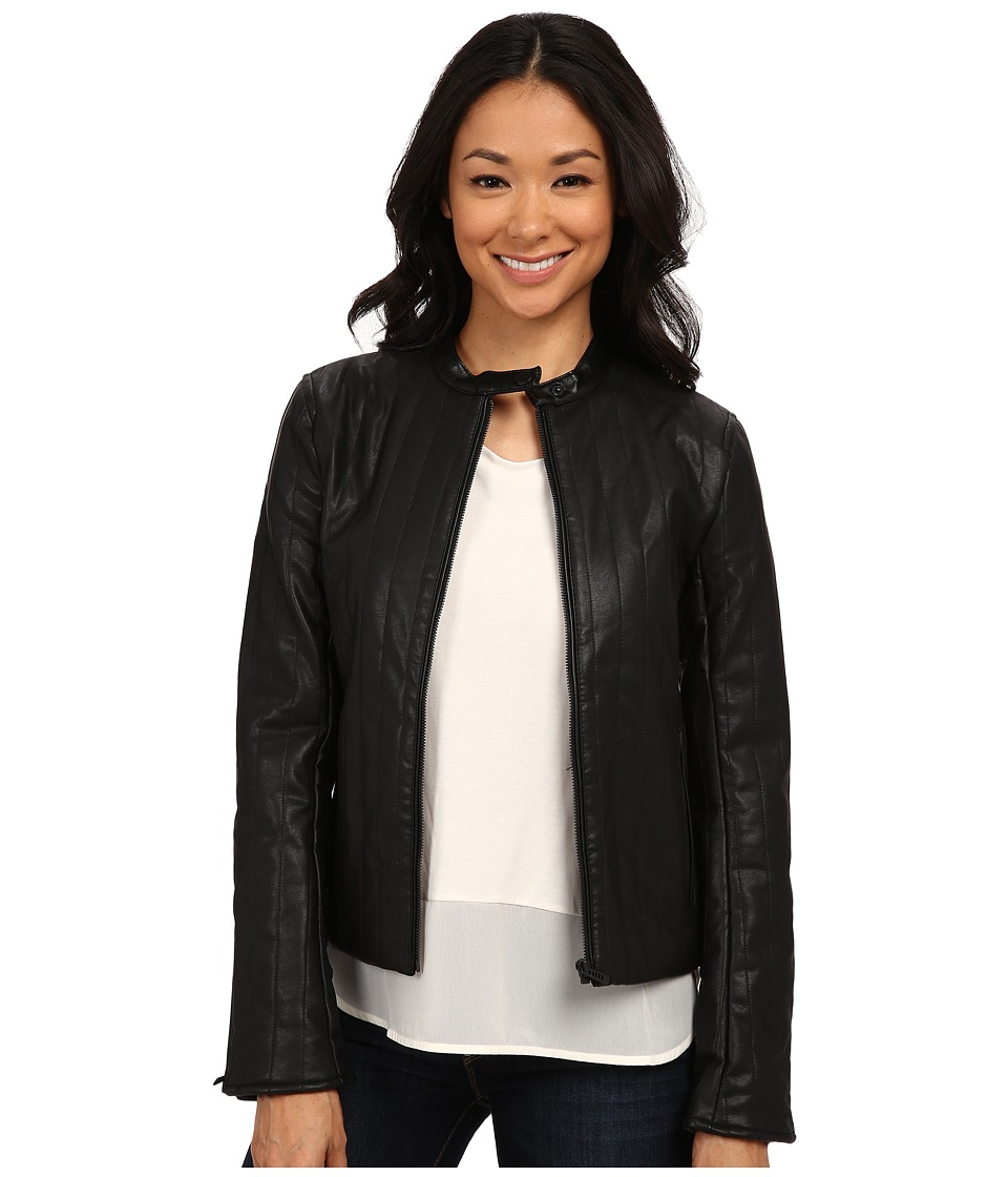 Calvin Klein Jeans - PU Vertical Quilt Jacket (Black) Women's Coat