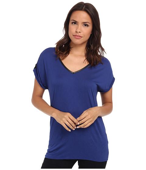 Calvin Klein Jeans - V-Neck Tee w/ Lace Yoke (Sodalite) Women