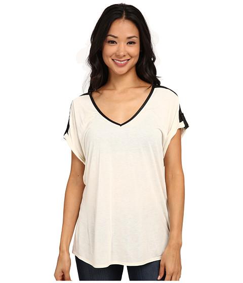 Calvin Klein Jeans - V-Neck Tee w/ Lace Yoke (Gardenia) Women's T Shirt