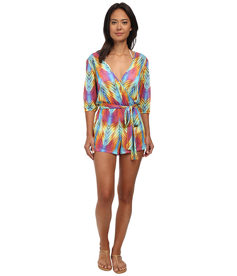 Luli Fama - Playa Verano Wrap Front Three-Quarter Sleeve Romper Cover-Up (Multicolor) Women