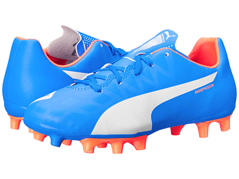 Puma Kids - Evospeed 5.4 FG JR Soccer (Little Kid/Big Kid) (Electric Blue Lemonade/White/Orange Clown) Kids Shoes