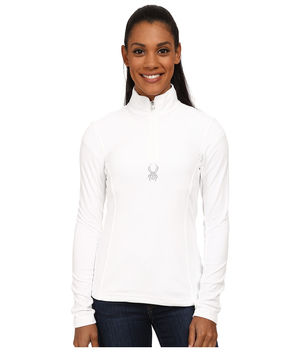 Spyder - Shimmer Bug Velour Fleece T-Neck (White) Women's Sweatshirt