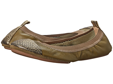Yosi Samra - Samantha Soft Leather Fold Up Flat w/ Crackled Metallic Captoe (Millitary Green/Pure Gold) Women's Shoes