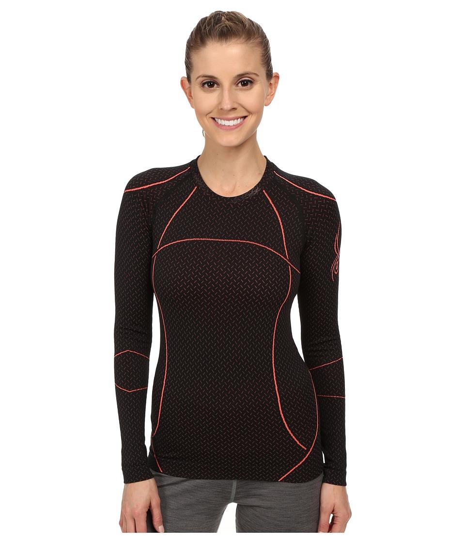 Spyder - Olympian Long Sleeve Top (Black/Bryte Pink) Women's T Shirt