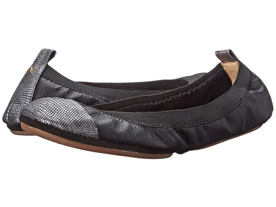 Yosi Samra - Samantha Tuscany Leather Fold Up Flat w/ Contrast Captoe (Black/Pewter) Women