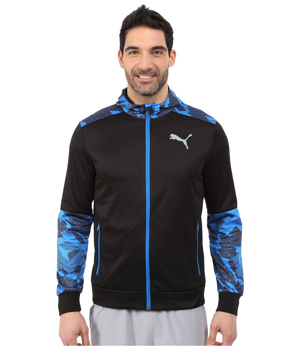 PUMA - Full Zip Jacket (Black/Electric Blue Lemonade) Men's Jacket