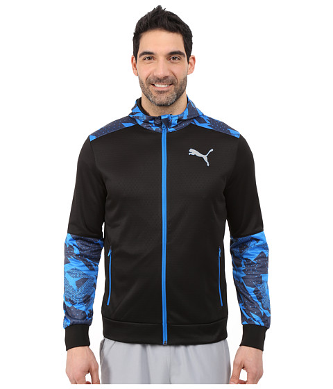 PUMA - Full Zip Jacket (Black/Electric Blue Lemonade) Men