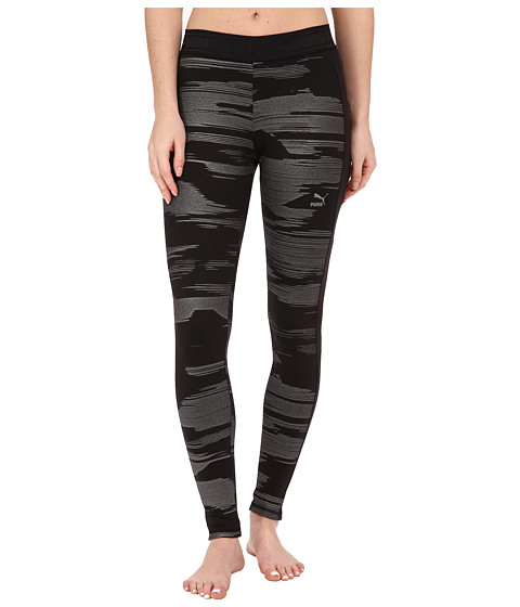 PUMA - Printed Leggings (Black/Metallic Print) Women's Casual Pants