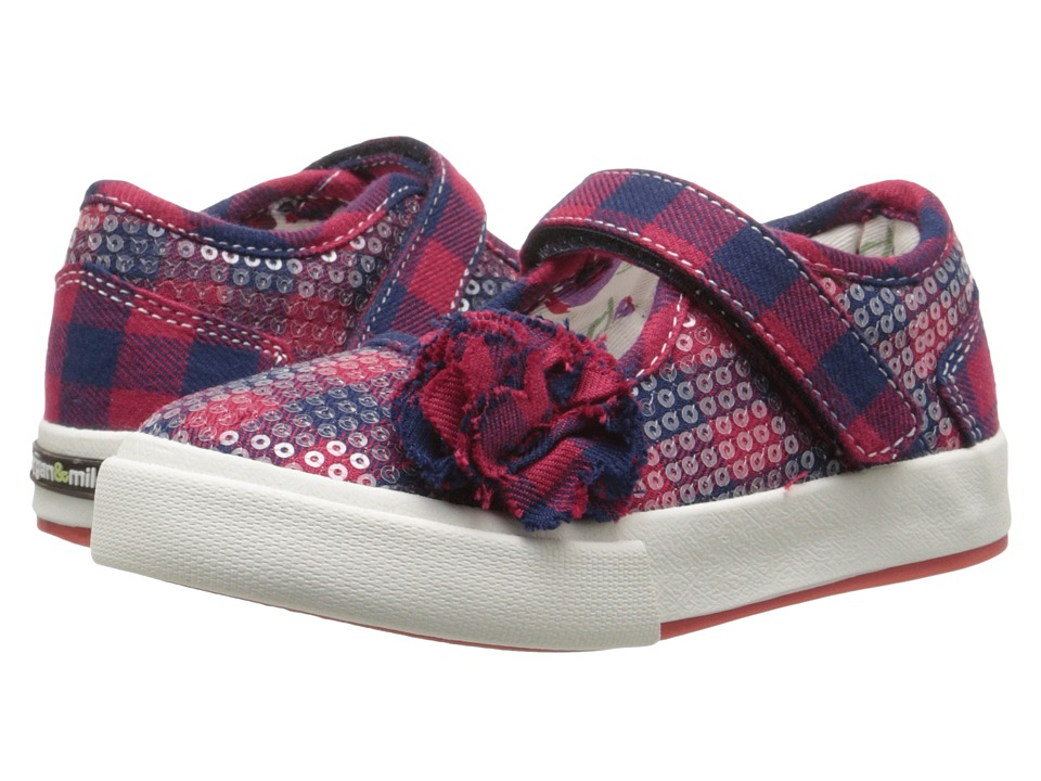 Morgan&Milo Kids - Maddie Floral Maryjane Sequined (Toddler/Little Kid) (Red Check) Girls Shoes