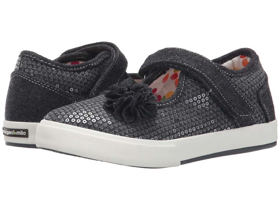 Morgan&Milo Kids - Maddie Floral Maryjane Sequined (Toddler/Little Kid) (Charcoal Grey) Girls Shoes