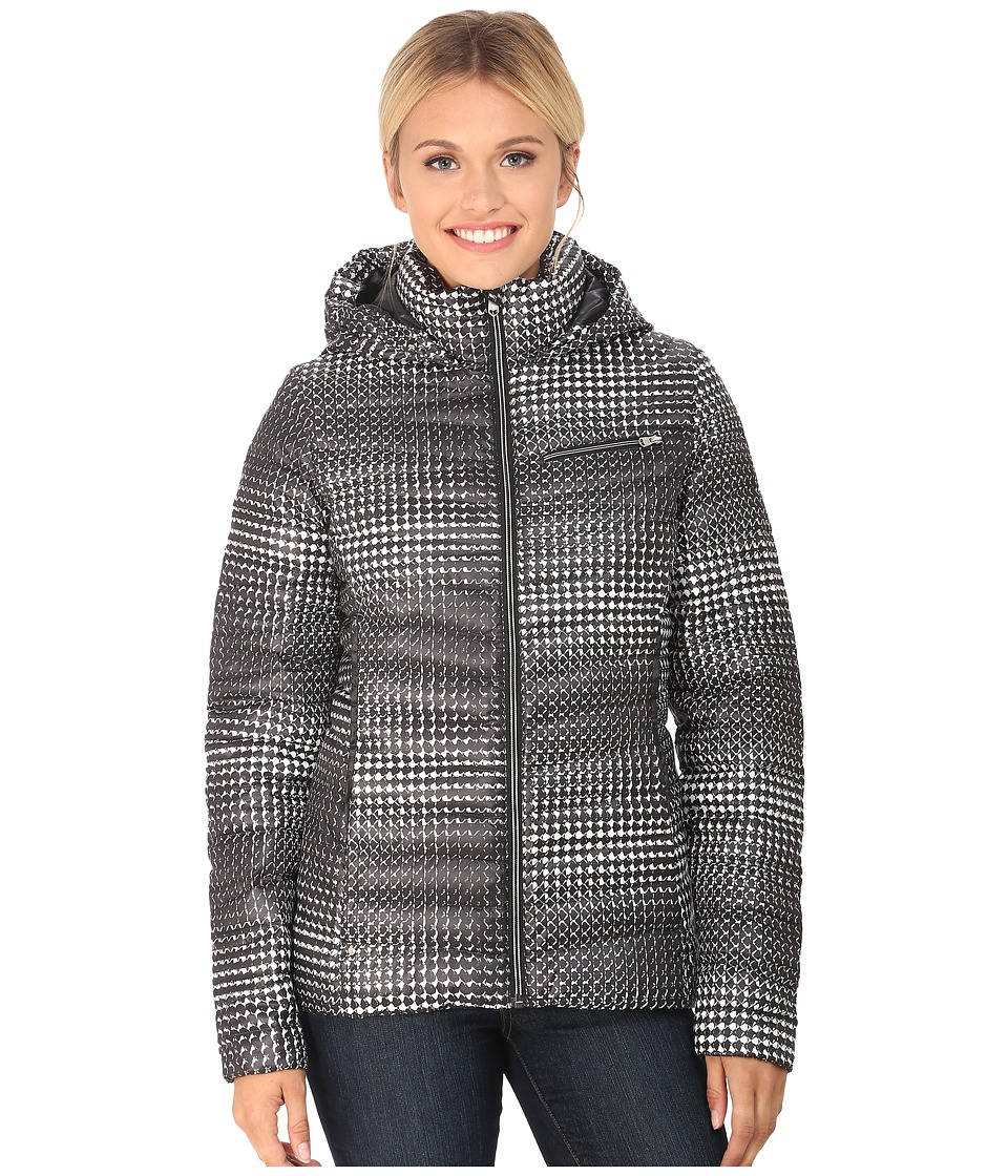 Spyder - Timeless Hoodie Novelty Down Jacket (Black Drape Print/Black) Women's Coat