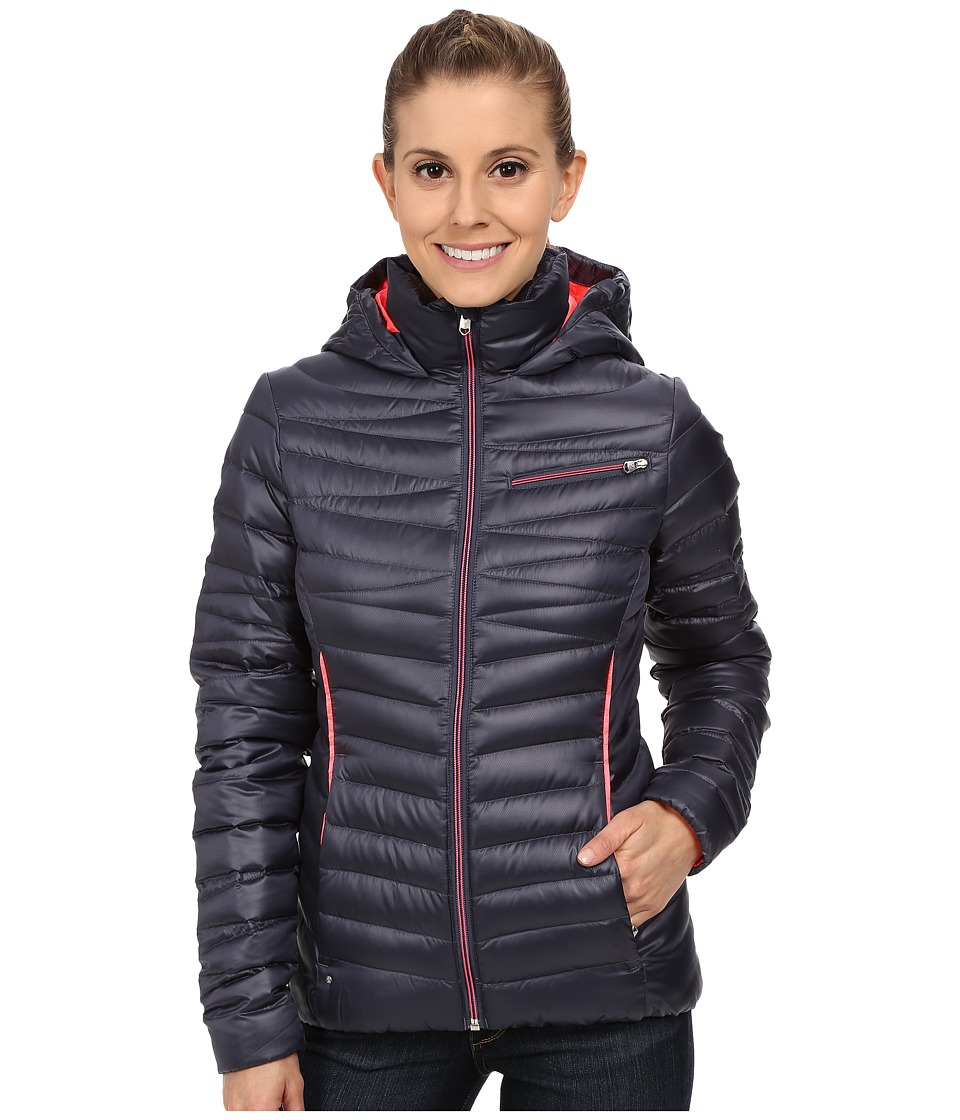 Spyder - Timeless Hoodie Down Jacket (Depth/Bryte Pink) Women's Coat