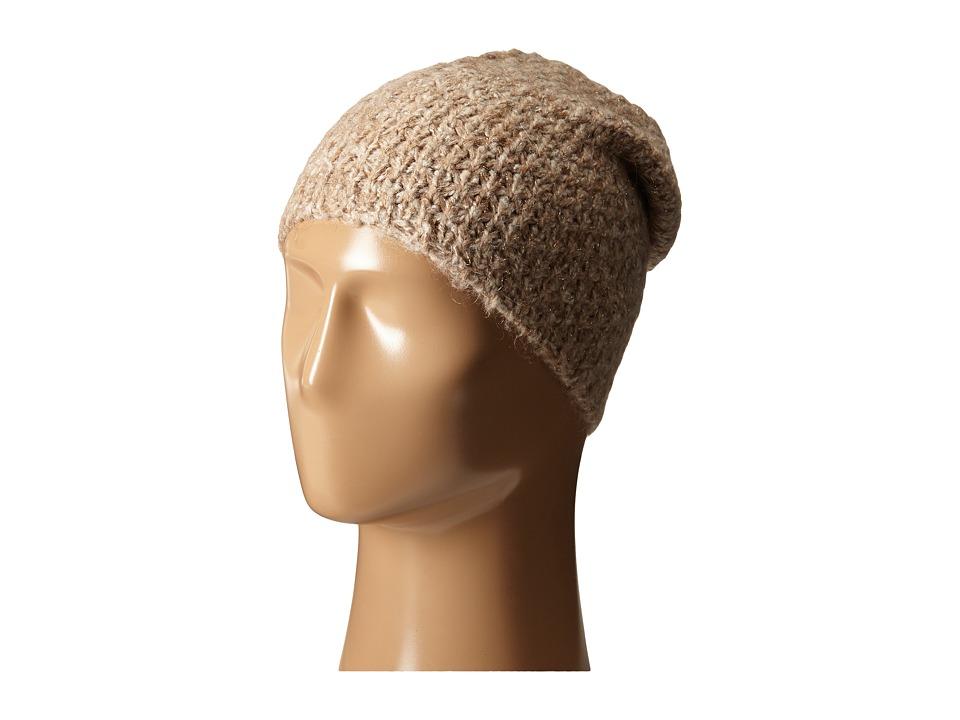 LAUREN by Ralph Lauren - Oversized Honeycomb Cuff Hat (Camel Heather) Cold Weather Hats