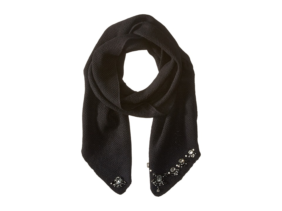LAUREN by Ralph Lauren - Jewel Encrusted Waffle Stitch Scarf (Black/Jet) Scarves