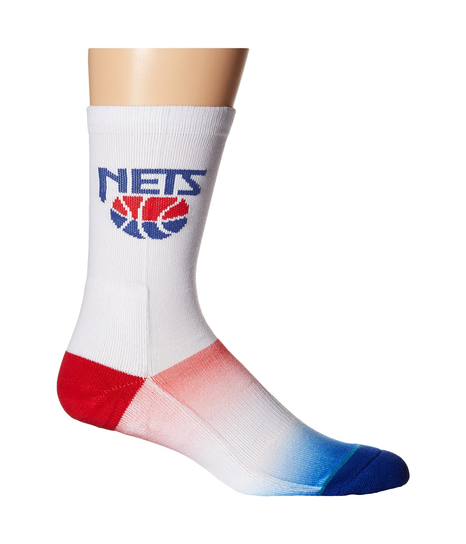 Stance - NJ Nets Hardwood Classics (White) Men's Crew Cut Socks Shoes
