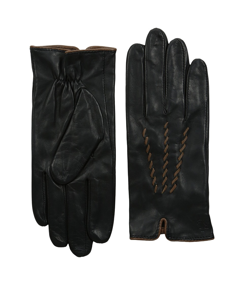 LAUREN Ralph Lauren - Whip Stitch Points Glove (Black/New Saddle) Extreme Cold Weather Gloves
