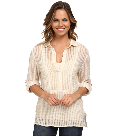 Miraclebody Jeans - Brianna Collar Tunic Top w/ Body-Shaping Inner Shell (Natural White) Women