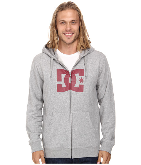 DC - Star Zip-Up Screen Fleece (Heather Grey/Red) Men's Fleece