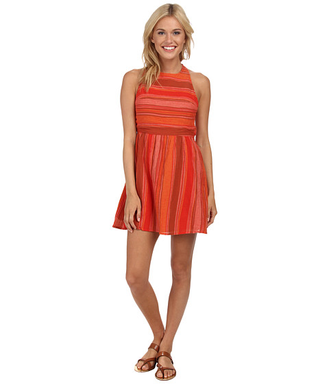 Roxy - Long View Woven Dress (Fiery Orange Sunset) Women