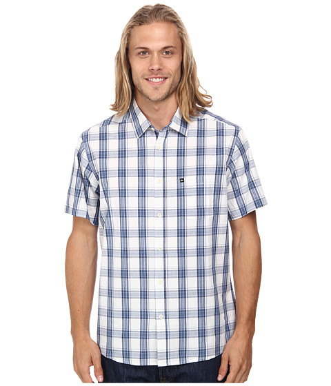 Quiksilver - Everyday Check Short Sleeve Woven Top (Surfside Dark Denim) Men's Clothing