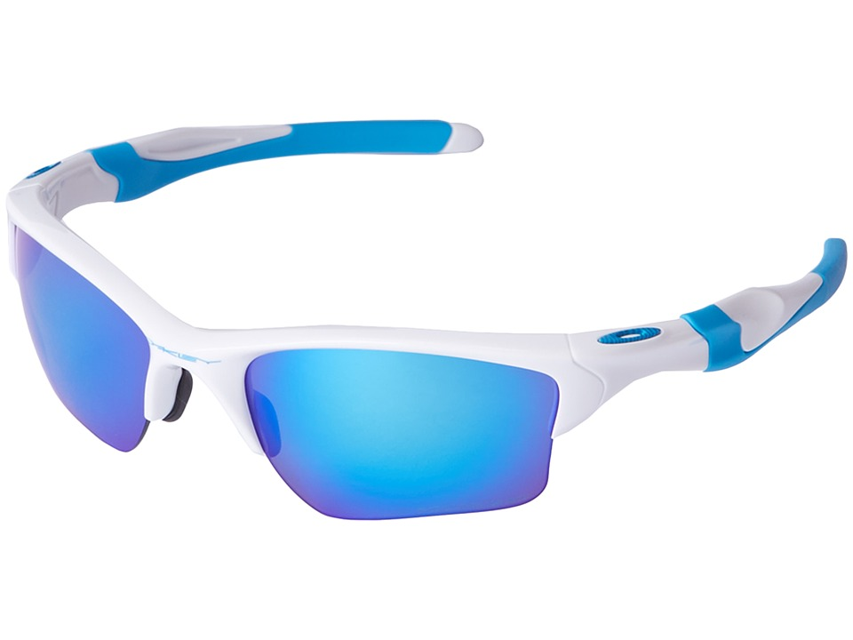 Oakley - Half Jacket 2.0 XL (Polished White/Sapphire Iridium Polarized) Plastic Frame Sport Sunglasses