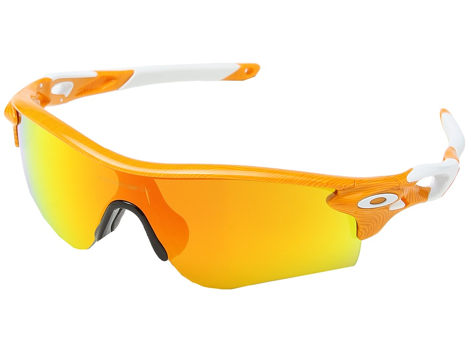 Oakley - Radarlock (Atomic Orange Fingerprint/Fire Iridium) Polarized Sport Sunglasses