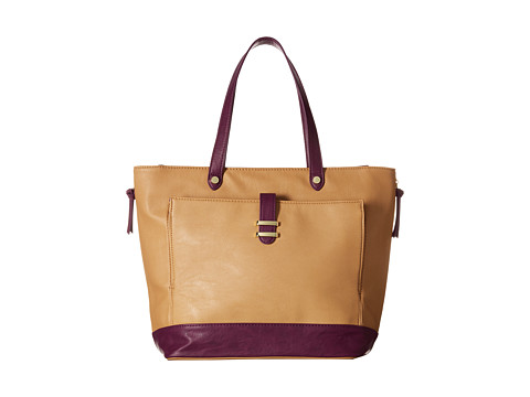 Steve Madden - Color Block Tote w/ iPad Front Pocket (Camel/Purple) Tote Handbags