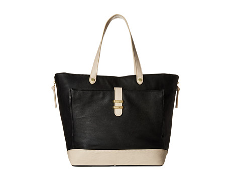 Steve Madden - Color Block Tote w/ iPad Front Pocket (Black/Cream) Tote Handbags