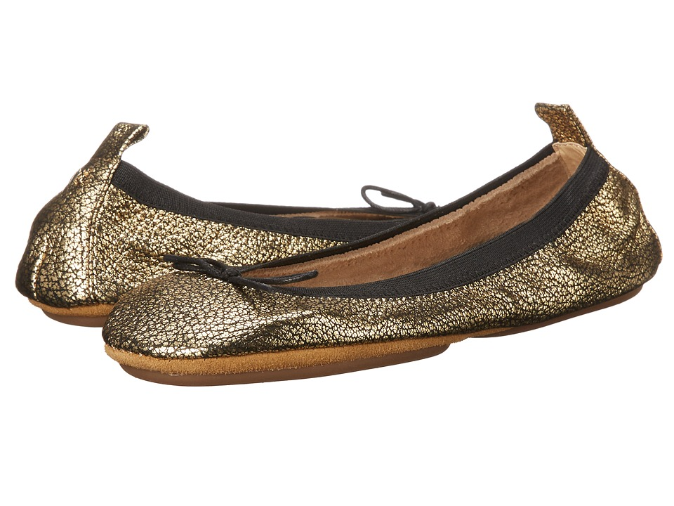 Yosi Samra - Sandrine Crackled Metallic Fold Up Flat with Bow (Pure Gold) Women's Flat Shoes