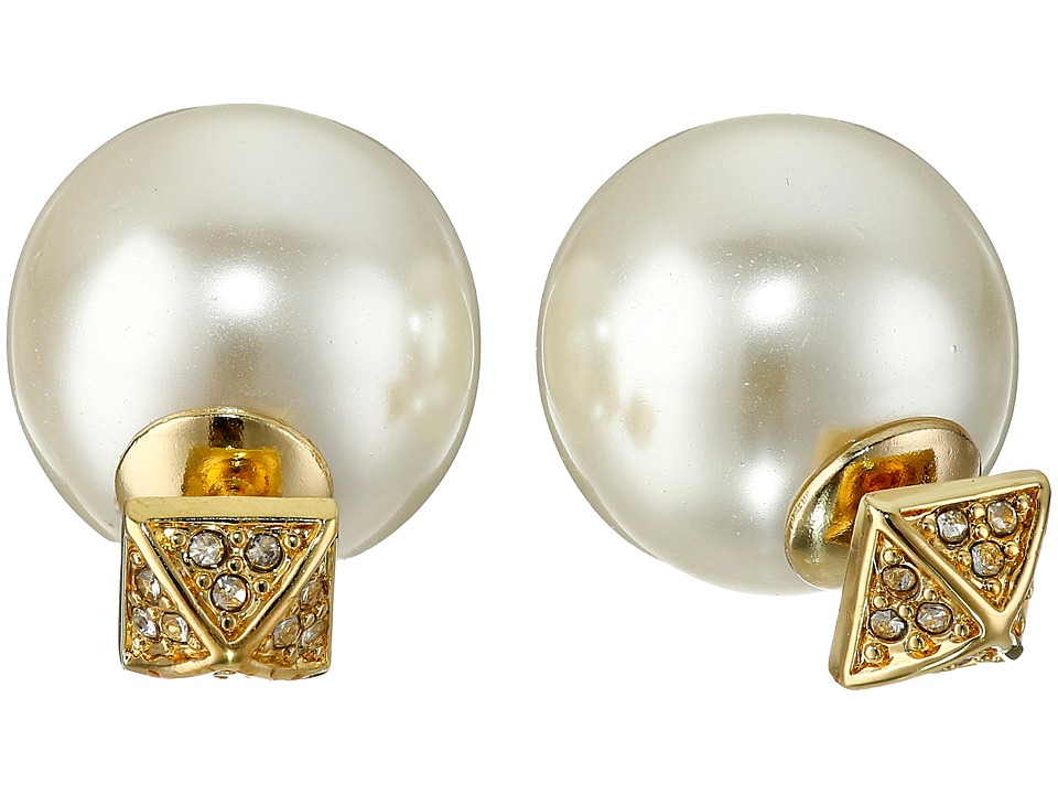 Rebecca Minkoff - Two Part Pave/Pearl Earrings (Gold Toned/Crystal) Earring