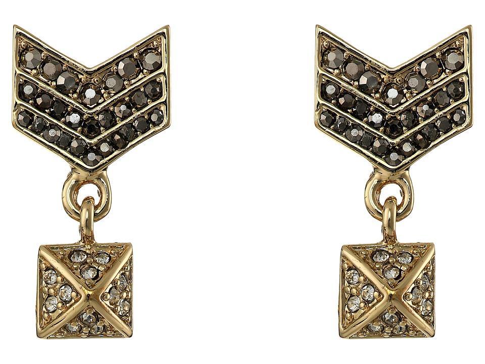 Rebecca Minkoff - Crystal Chevron Drop Earrings (Gold Toned/Hematite) Earring