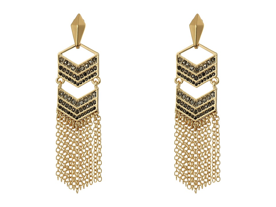 Rebecca Minkoff - Double Chevron Tassel Earrings (Gold Toned/Hematite) Earring