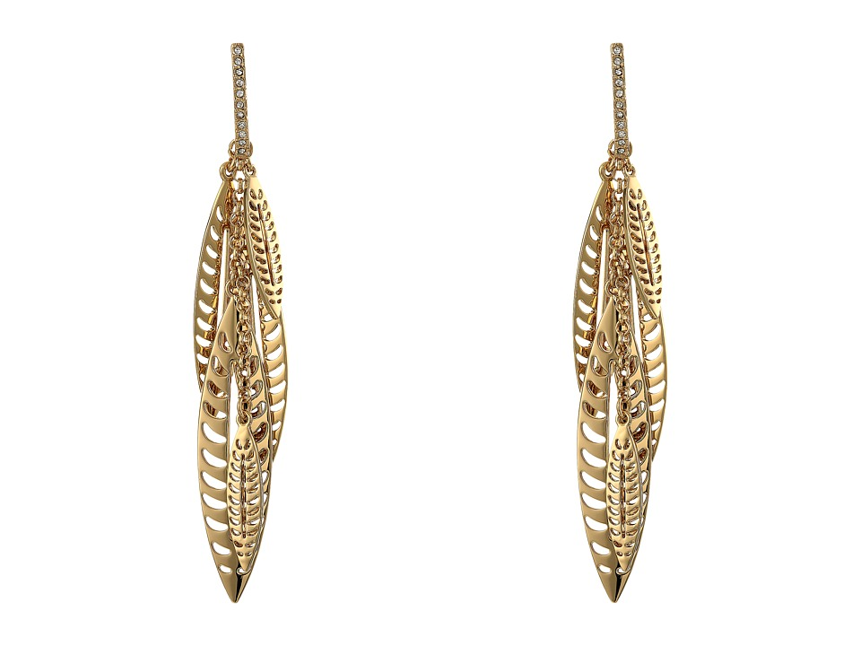 Rebecca Minkoff - Leaf Chandelier Earrings (Gold Toned/Crystal) Earring