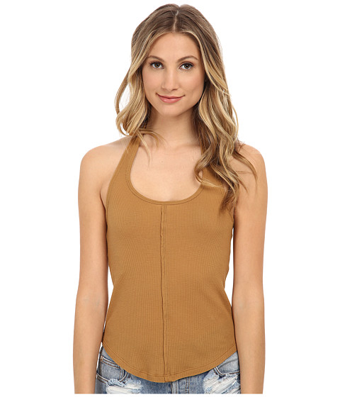 Free People - Baby Waffle Halter Tank Top (Amber) Women