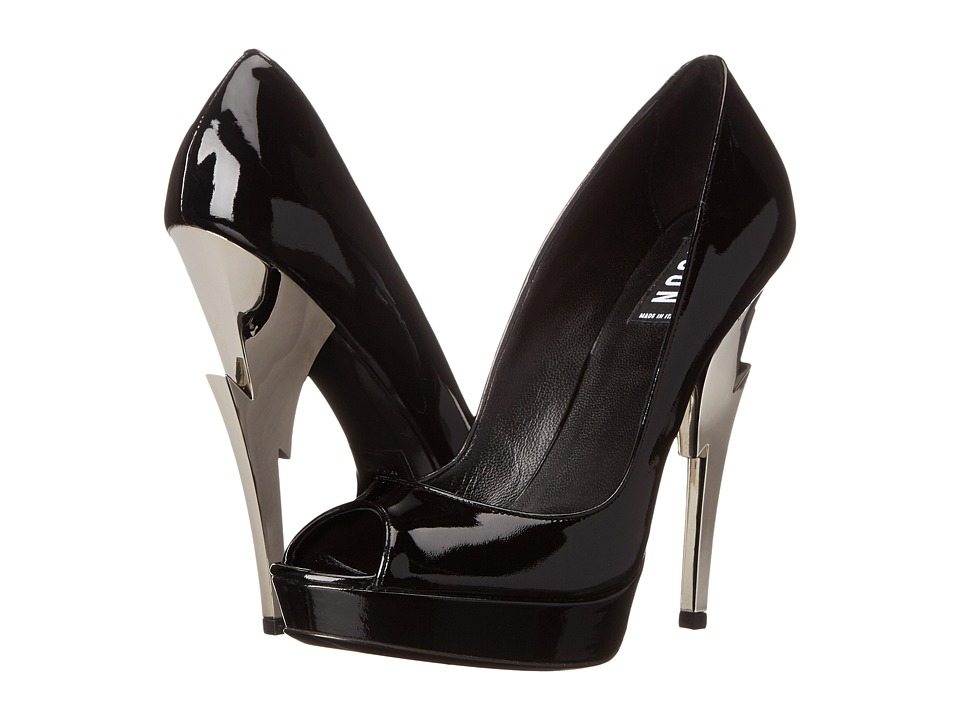DSQUARED2 - Open Toe with Sculpture Heel (Nero Vernice Argento) High Heels