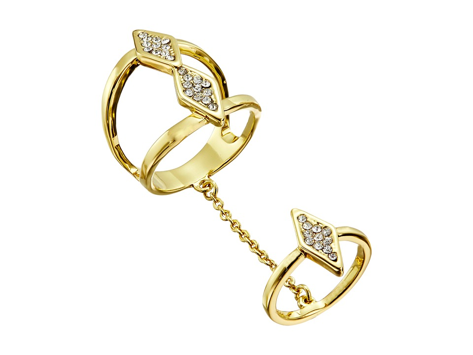 Rebecca Minkoff - Diamond Chain Ring (Gold Toned/Crystal) Ring