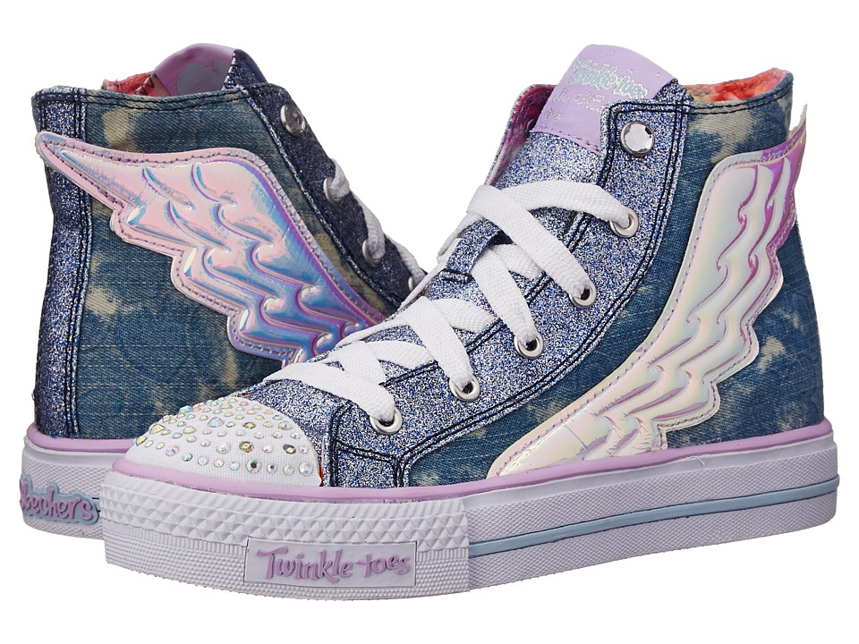 SKECHERS KIDS - Twinkle Toes - Shuffles 10565L Lights (Little Kid/Big Kid) (Denim) Girl's Shoes