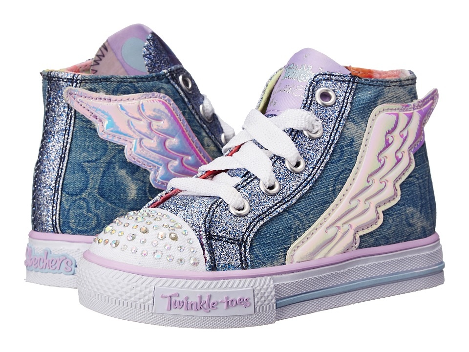 SKECHERS KIDS - Shuffles 10565N Lights (Toddler) (Denim) Girl's Shoes