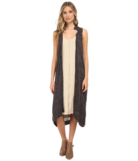 Free People - Sheer Trench Sweater Vest (Charcoal) Women's Vest