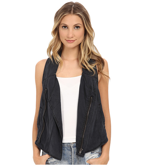 Free People - Pure Tencel Cutout Back Vest (Charcoal) Women's Vest