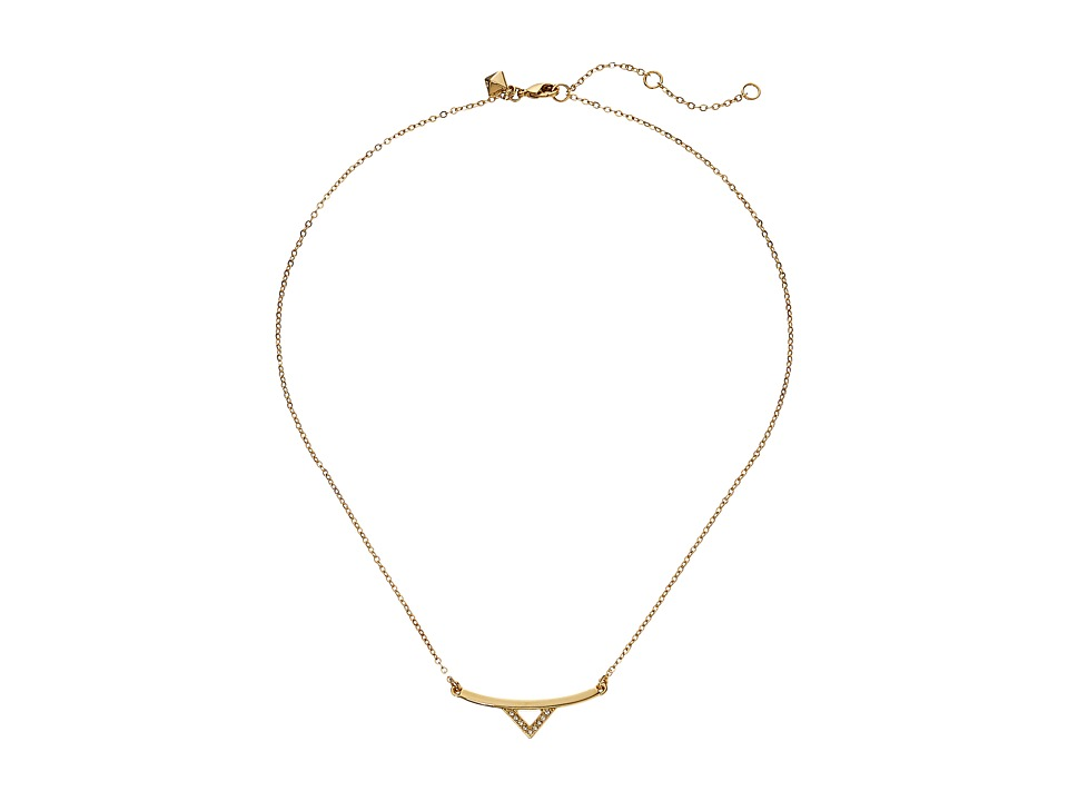 Rebecca Minkoff - V Bar Necklace (Gold Toned/Crystal) Necklace